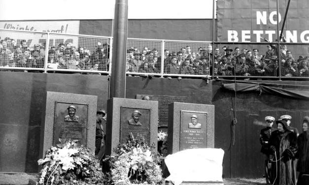 The New York Yankees unveil a granite monument to Babe Ruth. Monument Park, located in the deep center field region of Yankee Stadium, also includes monuments for Lou Gehrig and Miller Huggins.