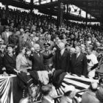 U.S. President Harry S. Truman throws out the ceremonial first pitch at the Senators' home opener