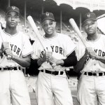 In the opening game of the World Series, the first all-black outfield in major league history makes its appearance when Monte Irvin, Willie Mays, and Hank Thompson take the field for the Giants at Yankee Stadium. Leo Durocher, in a curious move, replaces the previously injured outfielder Don Mueller in right field with Hank Thompson, a third baseman by trade, and uses veteran outfielder Bobby Thomson at the hot corner.