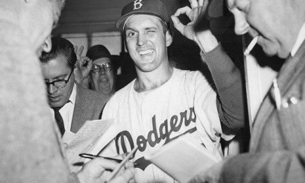 Carl Erskine of the Brooklyn Dodgers pitches a 3 – 0 no-hitter against the New York Giants. Erskine strikes out three and walks two. His masterpiece at Ebbets Field is the second no-hitter of his career. His first came in 1952 against the Chicago Cubs.