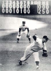 Don Larsen of the New York Yankees pitches the first-and only-perfect game in World Series history