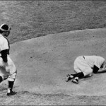 Cleveland Indians pitcher Herb Score is struck in the right eye by a line drive hit by the New York Yankees' Gil McDougald