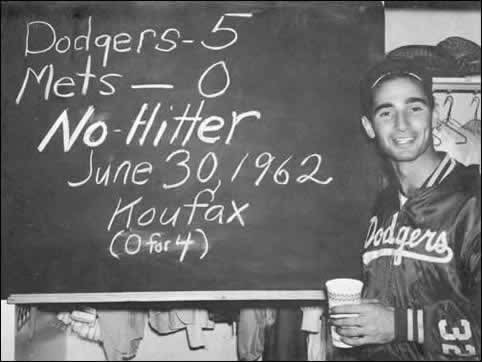 Sandy Koufax no hits the Mets 5-0