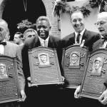 Jackie Robinson, Bob Feller, Edd Rousch, Bill McKechnie 1962 Hall of Fame