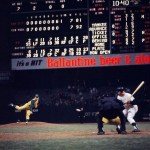 "At Yankee Stadium, New York blows a 7 - 0 lead and allows Kansas City to tie the game and send it into extra innings. Mickey Mantle, leading off the 11th, is fooled by Bill Fischer on a slow curve, then cannons a 2 - 2 pitch that almost clears the RF roof. ""The hardest ball I ever hit,"" Mantle later comments, a ball that, by some accounts, is still rising when it strikes a foot below the top. It is conservatively estimated by Dr. James McDonald, a physicist who studies long-ball trajectories, that the ball would have traveled 620 feet if it had not struck the façade. ""That was the only homer I ever hit that the bat actually bent in my hands,"" Mantle tells Dale Long, from whom he borrowed the bat."
