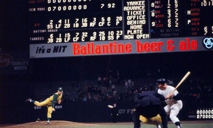 "At Yankee Stadium, New York blows a 7 – 0 lead and allows Kansas City to tie the game and send it into extra innings. Mickey Mantle, leading off the 11th, is fooled by Bill Fischer on a slow curve, then cannons a 2 – 2 pitch that almost clears the RF roof. ""The hardest ball I ever hit,"" Mantle later comments, a ball that, by some accounts, is still rising when it strikes a foot below the top. It is conservatively estimated by Dr. James McDonald, a physicist who studies long-ball trajectories, that the ball would have traveled 620 feet if it had not struck the façade. ""That was the only homer I ever hit that the bat actually bent in my hands,"" Mantle tells Dale Long, from whom he borrowed the bat."