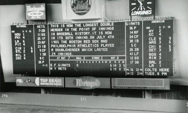 AtShea Stadium, theNew York Metsand theSan Francisco Giantsplay the longestdoubleheaderin major league history – 9 hours, 52 minutes