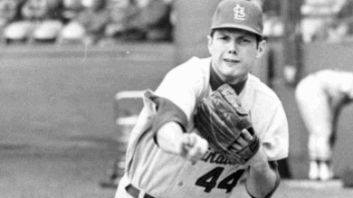 Ray Washburn of the St. Louis Cardinals pitches a no-hit game against the San Francisco Giants at Candlestick Park