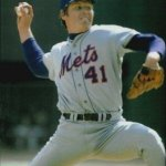 Tom Seaver of the New York Mets comes within two outs of pitching a perfect game