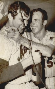 "From Associated Press...September 24,1969 ""Mets pitcher Nolan Ryan, left, and catcher Jerry Grote enjoy victory with Champaign flowing in their locker room at New York's Shea Stadium Wednesday night."" The Mets had clinched the NL East title with a 6-0 win over the St.Louis Cardinals according to the caption.. Oklahoma Historical Society"