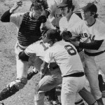 Thurman Munson and Carlton Fisk brawl at Fenway Park. With a 2 - 2 score in the top of the 9th, Munson, attempting to score from third on a missed bunt by Gene Michael, crashes into Fisk and they both come up swinging. Boston wins, 3 - 2, in the bottom of the inning.