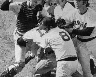 Thurman Munson and Carlton Fisk brawl at Fenway Park. With a 2 – 2 score in the top of the 9th, Munson, attempting to score from third on a missed bunt by Gene Michael, crashes into Fisk and they both come up swinging. Boston wins, 3 – 2, in the bottom of the inning.