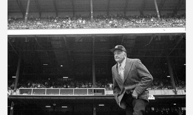 During the Old Timers' Game played at Yankee Stadium, Mickey Mantle homers off his old teammate and best buddy, Whitey Ford. After launching a shot that lands foul in the upper deck, the slugger sends the southpaw's next pitch over the fence, much to the delight of the large crowd gathered for the festivities.