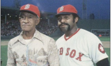 Luis Tiant Sr., recently allowed by Fidel Castro to leave Cuba to travel to Boston, throws out the first pitch at Fenway Park