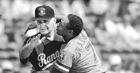 Texas Rangers infielder Lenny Randle physically confronts manager Frank Lucchesi