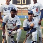 When Dusty Baker hits his 30th homer of the season the Dodgers become the first team in major league history to have four players hit 30 or more home runs.