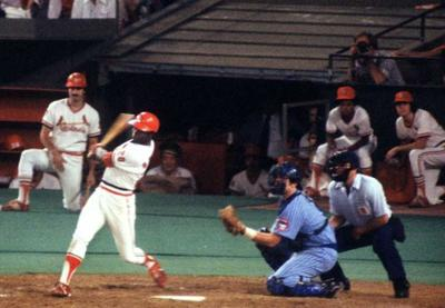 Lou Brock of the St. Louis Cardinals collects his 3000th hit