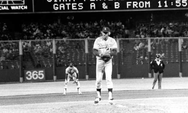 Jerry Reuss of the Los Angeles Dodgers pitches a no-hitter against the rival San Francisco Giants