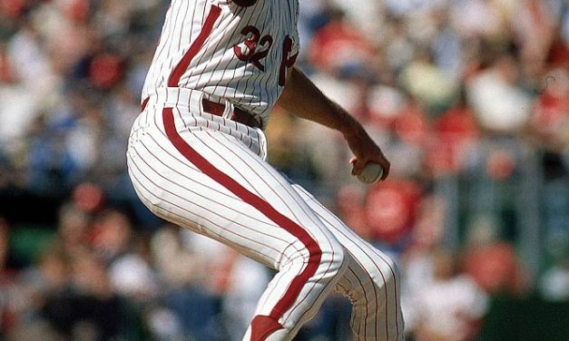 Steve Carlton of the Philadelphia Phillies surpasses Nolan Ryan in the all-time strikeout chase