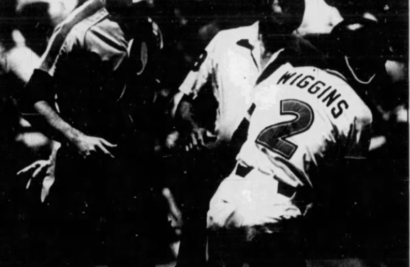 Alan Wiggins of the San Diego Padres ties a National League record by stealing five bases in one game
