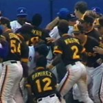 In one of the ugliest brawl-filled games in major league history including multiple bench clearing brawls several fans' and 19players are ejected