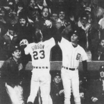 Darrell Evans becomes the first player in major league history to hit 40 home runs in a season in both leagues. The Tigers first baseman, who had hit 41 with the Braves in 1973, goes deep off Blue Jays' hurler Dave Stieb to reach 40 on the last day of the season.
