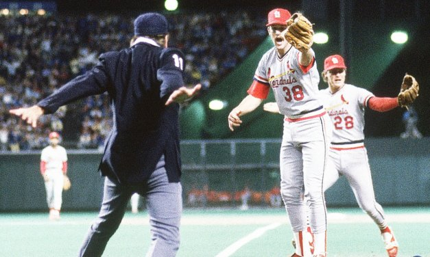 Don Denkinger's controversial ninth-inning call at first base enables the Royals to beat the Cardinals forcing a game 7