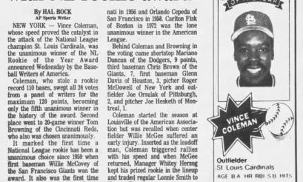 Vince Coleman is as the NL Rookie of the Year
