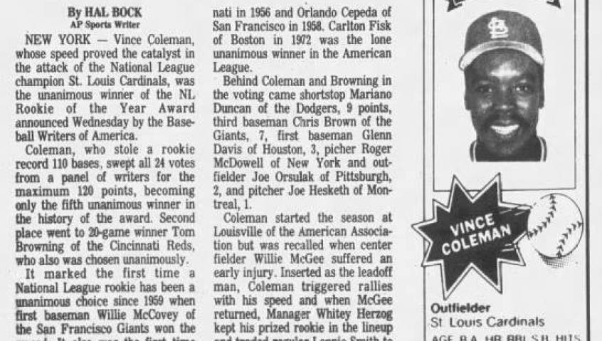 Vince Coleman Wins Rookie of Year