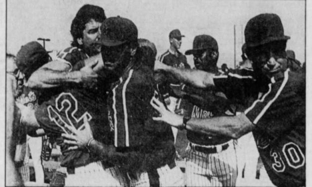 """""""When he punched Keith Hernandez in spring training last season, it was the only time that Darryl Strawberry hit the cutoff man."""" – STEVE WULF,Sports Illustratedjournalist.At a photo session, Mets' outfielder Darryl Strawberry throws a punch at Keith Hernandez, the team's no-nonsense All-Star first baseman. The spring training scuffle started over comments about salaries and results with the Straw walking out of camp."""