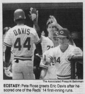 The Reds set a major league record for the most hits in the first inning of a game with 16 as they score 14 runs at Riverfront Stadium off woeful Astro pitching. The half of an inning lasts 38 minutes, with the Reds eventually winning the game, 18-2.
