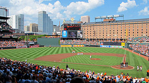 Baltimore Orioles play the first game in the history of Oriole Park at Camden Yards