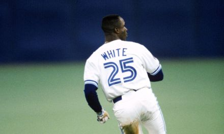 Devon White of the Toronto Blue Jays becomes just the sixth player in major league history to hit both a leadoff home run and an extra-inning homer in the same game.
