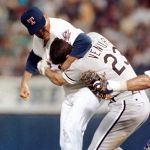 White Sox 3B Robin Ventura charges Nolan Ryan after a pitch hits him in the 3rd inning. Ryan gets Ventura in a headlock and throws six punches. Ventura is suspended two games for his actions, while Ryan is not disciplined.