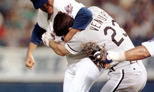 White Sox3BRobin VenturachargesNolan Ryanafter a pitch hits him in the 3rd inning. Ryan gets Ventura in a headlock and throws six punches. Ventura is suspended two games for his actions, while Ryan is not disciplined.