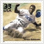 """The U.S. Postal Service issues aJackie Robinsonstamp as part of their """"Celebrate the Century"""" program. Robinson was selected to represent the1940s, the second ballplayer chosen.Babe Ruth, last May, represented the1920s."""