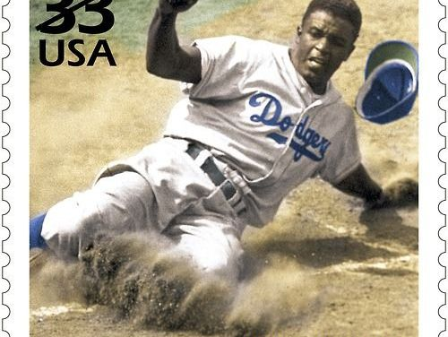 "The U.S. Postal Service issues a Jackie Robinson stamp as part of their ""Celebrate the Century"" program. Robinson was selected to represent the 1940s, the second ballplayer chosen. Babe Ruth, last May, represented the 1920s."