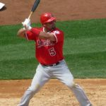 Albert Pujols becomes the ninth major leaguer to hit600 home runsand the only player to reach the milestone with a grand slam. The 37 year-old Los Angeles DH, the fourth youngest to accomplished the feat, behind only Babe Ruth, Alex Rodrigues, and Henry Aaron, goes deep in the fourth inning off Ervin Santana in the team's 7-4 victory over the Twins at Angel Stadium of Anaheim.