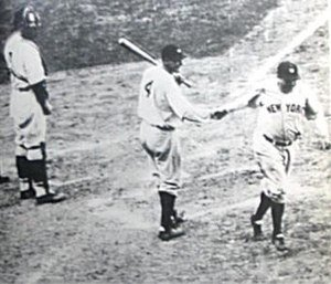 Babe Ruth of the New York Yankees hits his 600th major league home run