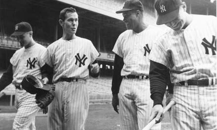New York Yankee greats Mickey Mantle and Whitey Ford are inducted into the Hall of Fame