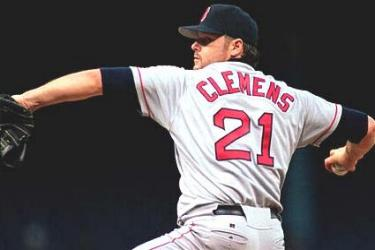 Roger Clemens ties his own major league record by striking out 20 batters