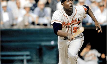 Hank Aaron hits first career homerun off Vic Raschi