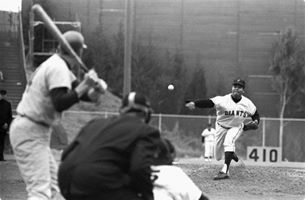 Juan Marichal of the San Francisco Giants defeats the Pittsburgh Pirates, 5-1, for the 200th win of his career