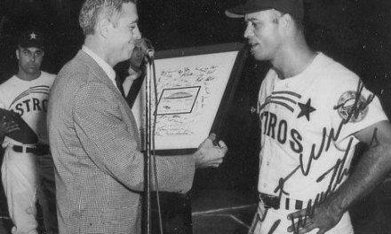 Houston Astros infielder Eddie Mathews blasts the 500th home run of his career