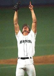 Randy Johnson of the Seattle Mariners pitches the first no-hitter in the history of the franchise