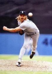 Randy Johnson of the Diamondbacks hurls a perfect game