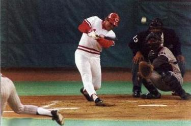 Pete Rose of the Cincinnati Reds collects the 3,000th hit