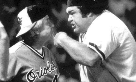 Earl Weaver is ejected twice by umpire Ron Luciano during a doubleheader
