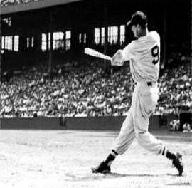 Ted Williams of the Boston Red Sox blasts his 17th career grand slam