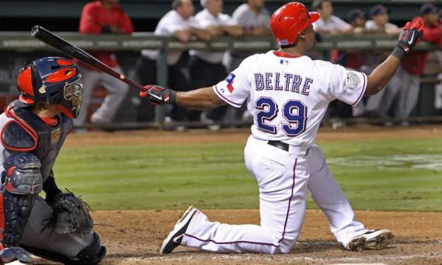 Texas third baseman Adrian Beltrecollects his 3000th hitwhen he doubles in the fourth inning in the Rangers' 10-6 loss to the Orioles at Globe Life Park in Arlington. The twenty-year veteran, who has also spent time with the Dodgers, Mariners, and the Red Sox, is the first-ever Dominican-born player to reach the coveted milestone.